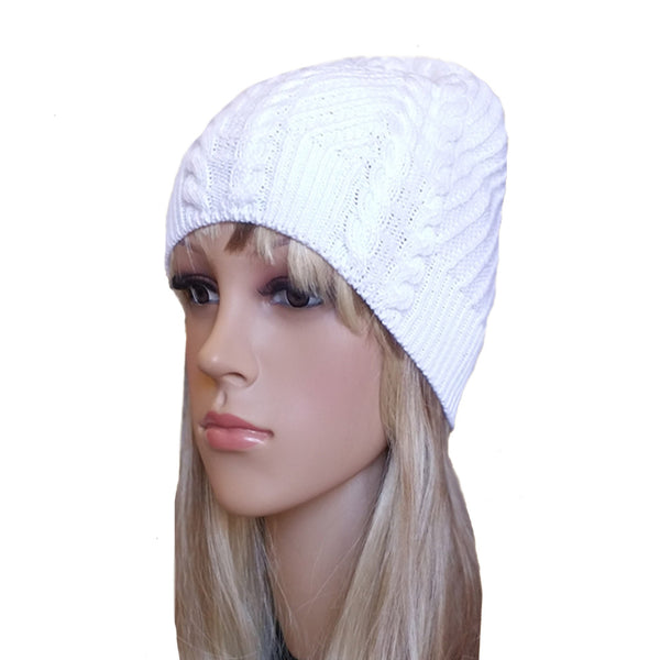 Wholesale White Knit Hat Cable Pattern for spring, fall