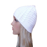 Wholesale White Knitted Hat Cable Pattern for spring, fall, winter
