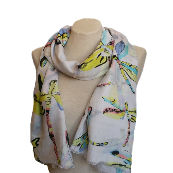 White dragonfly print scarf for women
