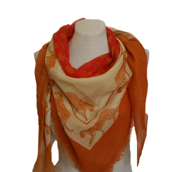 Mustard square tiger print women's scarf