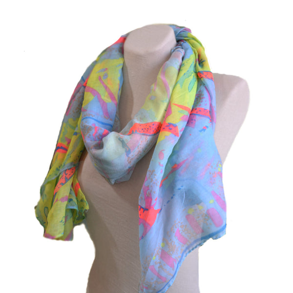 Summer multicolor fabric wide women's scarf
