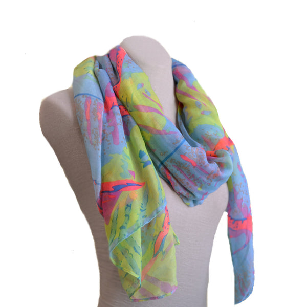 Summer multicolor fabric womens scarf