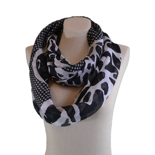 Black White leopard print infinity scarf