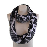 Black White leopard print infinity scarf for women