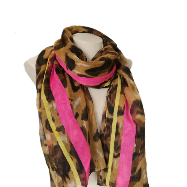 Brown Leopard Print Scarf for Women