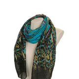 Leopard print blue women's scarves