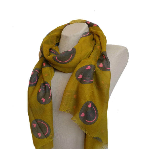 Mustard Women's Smiley Print Scarf