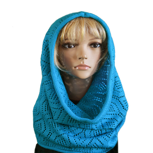 Blue Knitted wool cowl scarf
