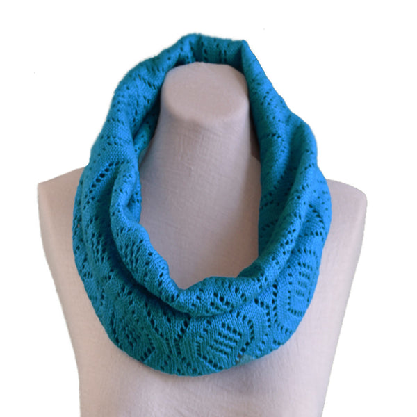 Blue Knitted wool cowl scarves