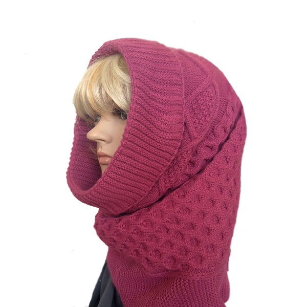 Crimson pink women's knitted cowl snood for winter