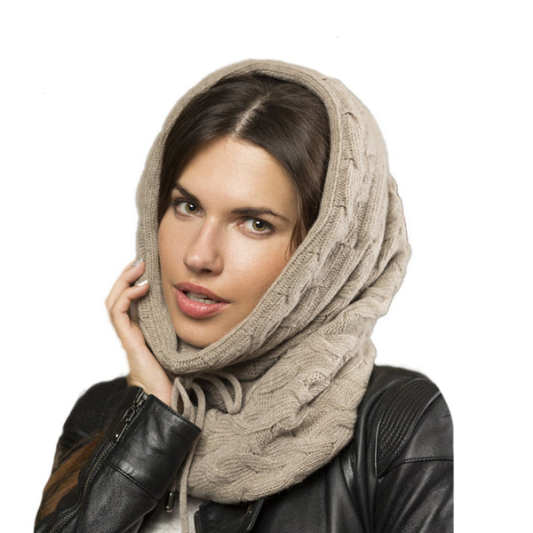 Beige knitted winter womens hooded cowl scarf