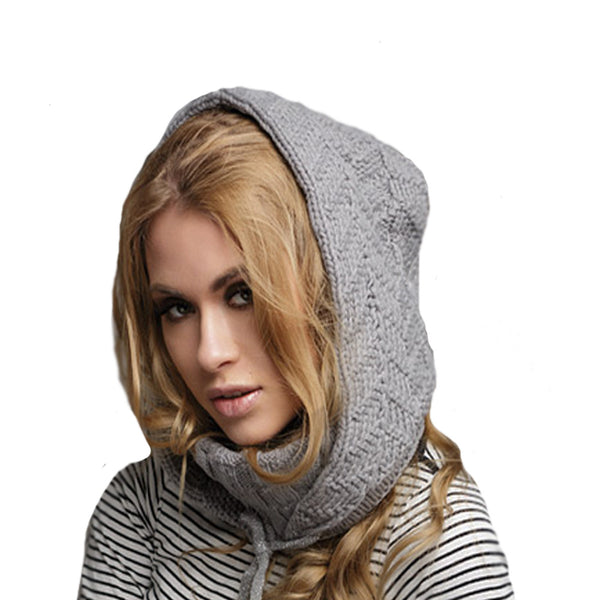 Gray knitted wool hoodie for winter