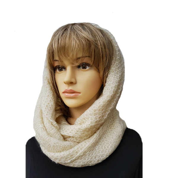 Cream Knitted Infinity Scarf for Women Winter Warm Circle Knit