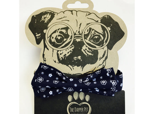 The Dapper Pet Dark Blue Bow Tie Collar - Pet Bound Co.