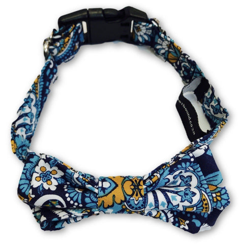 The Dapper Pet Designer Blue Bow Tie Collar - Pet Bound Co.