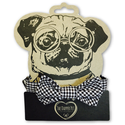 The Dapper Pet Bow Black Checkered Bow Tie Collar - Pet Bound Co.