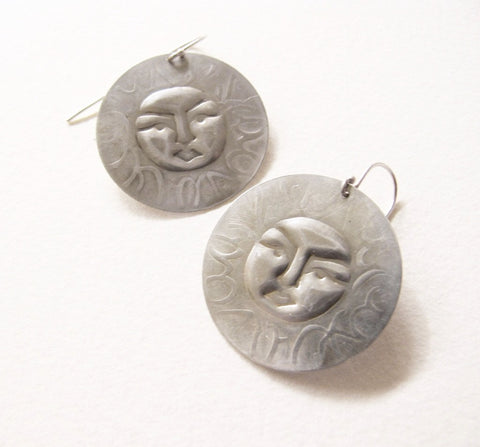 handmade sterling silver 32mm embossed sunface earrings
