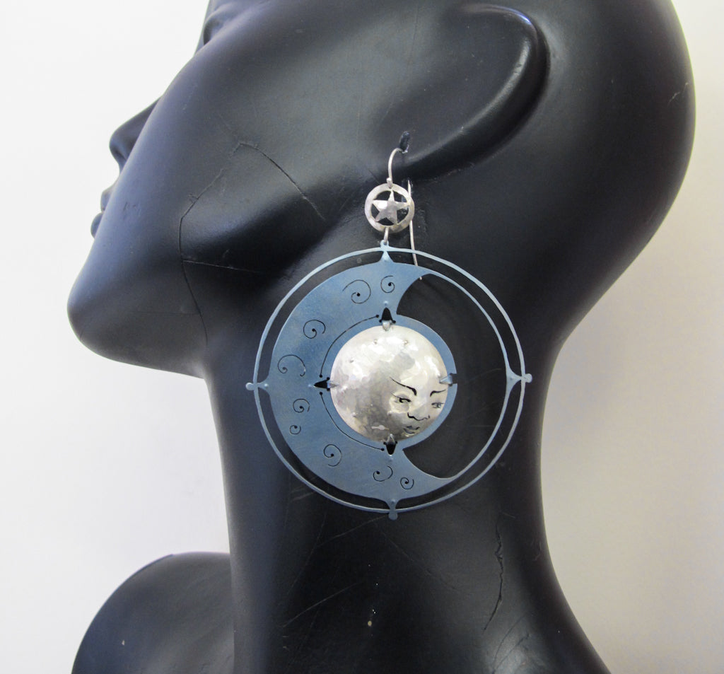 proper, handmade moonface statement earrings titanium and sterling silver, bethamy linton