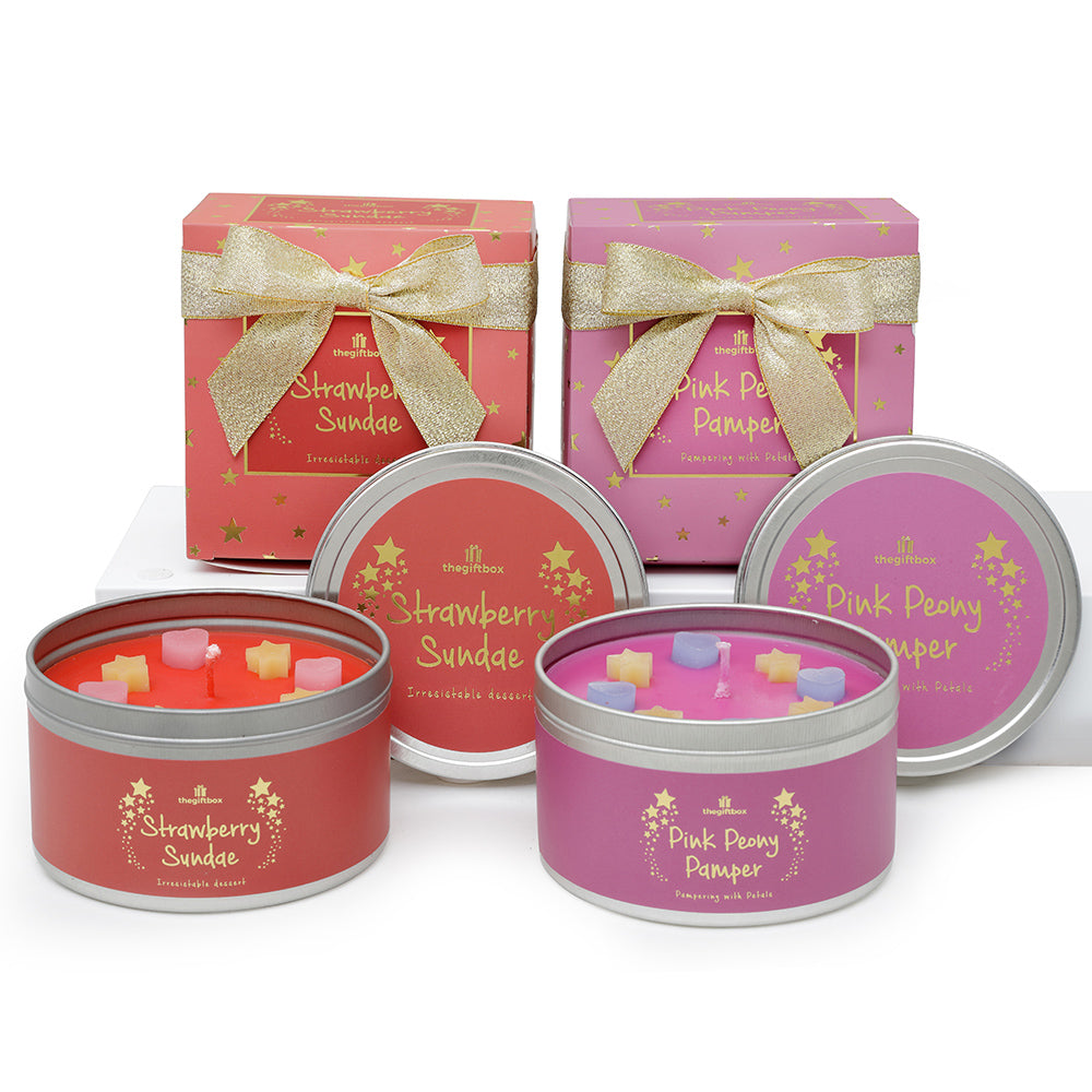 Twin Pack - Pink Peony Pamper and Strawberry Sundae Scented Tin Candle