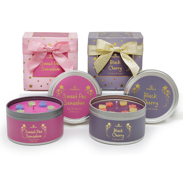 Twin Pack - Sweet Pea Sensation and Black Cherry Scented Tin Candle