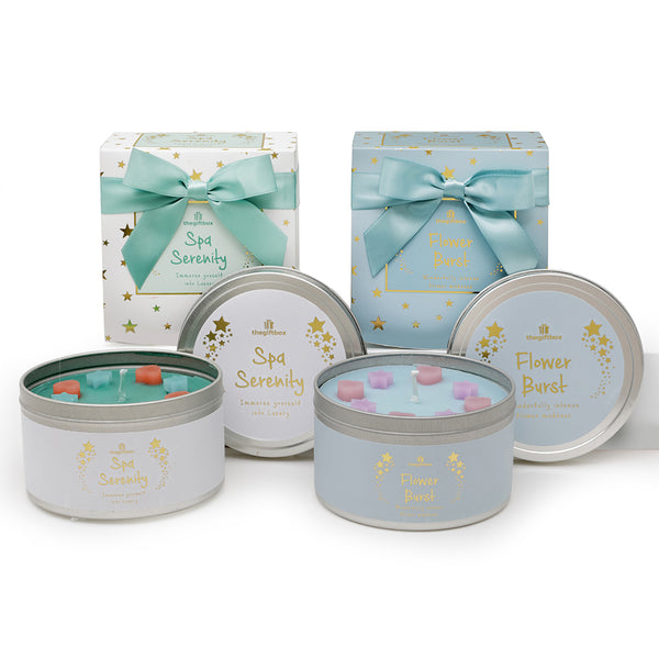 Twin Pack - Flower Burst and Spa Serenity Scented Tin Candle