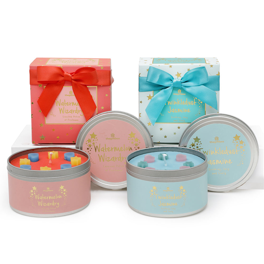 Twin Pack - Watermelon Wizardry and Twinkledust Jasmine Scented Tin Candle