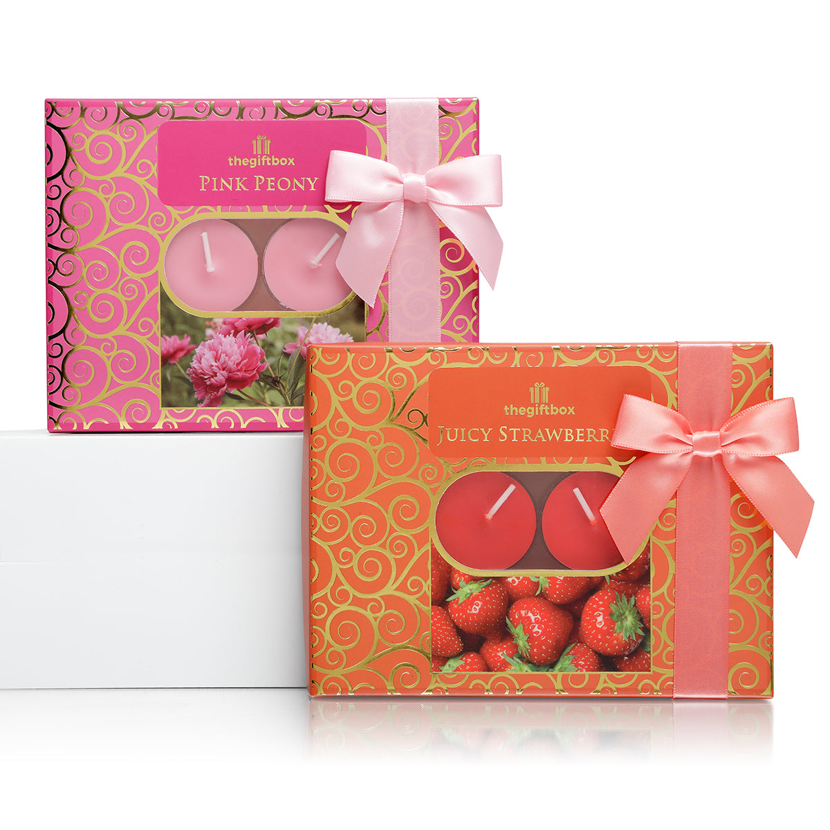 Twin Pack -  2 x 12 Scented Tea Lights, Pink Peony and Juicy Strawberries
