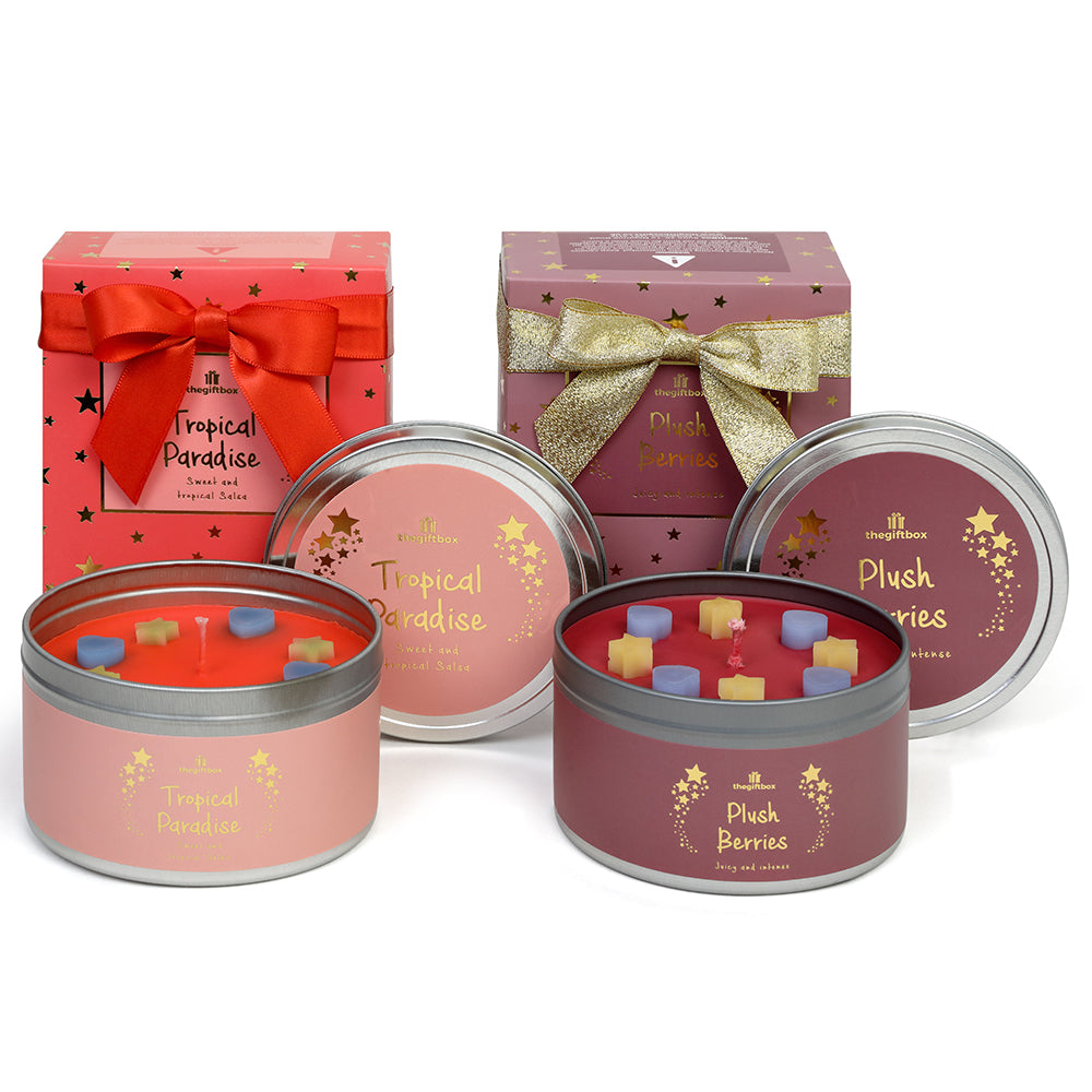 Twin Pack - Plush Berries/Tropical Fruit Scented Tin Candle