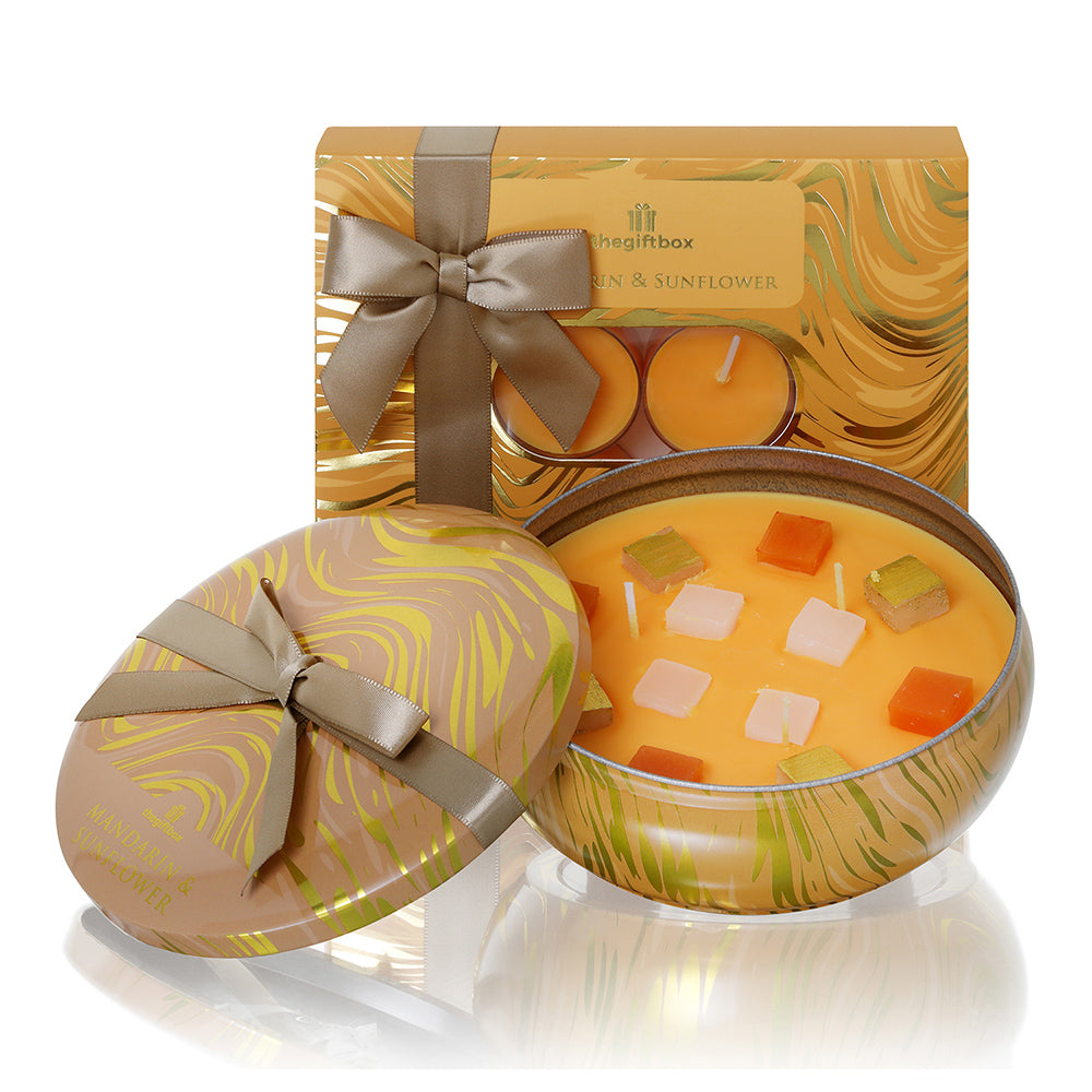 Mandarin and Sunflower Single Tin Gifts