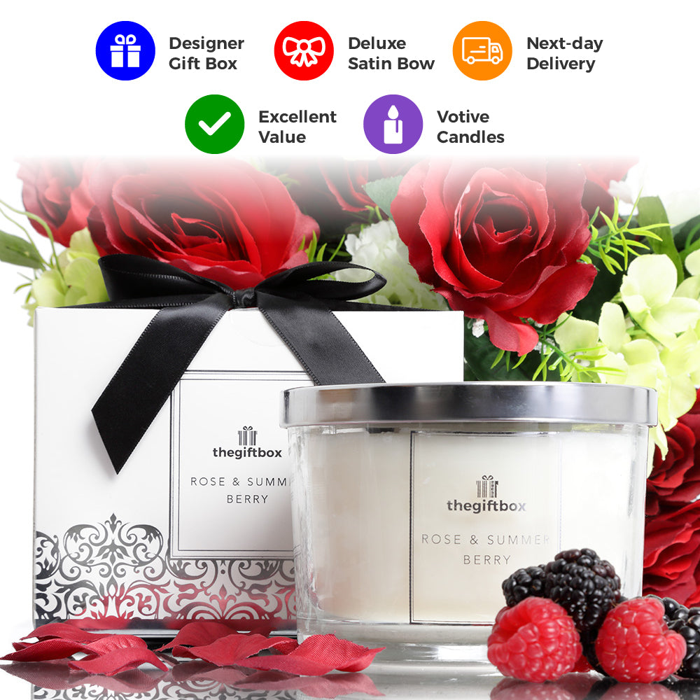 Rose and Summer Berry Luxury Large Candle