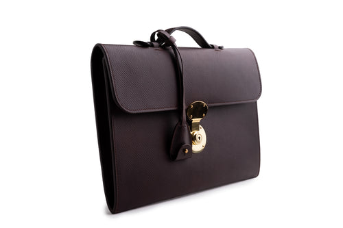 Business Portfolio Briefcase Dark Brown Hatch Grain