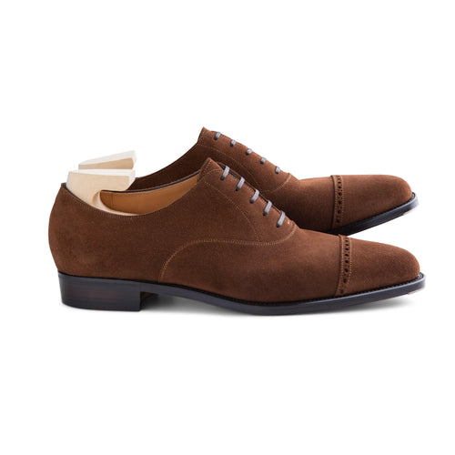 Punched Cap Toe Oxford in Snuff Suede