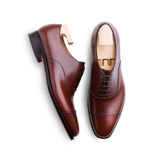 Punched Cap Toe Oxford in Mid Brown French Calf