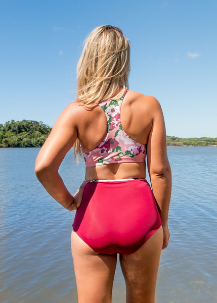 NAMIKO | Wanderer high neck surf bikini top back.