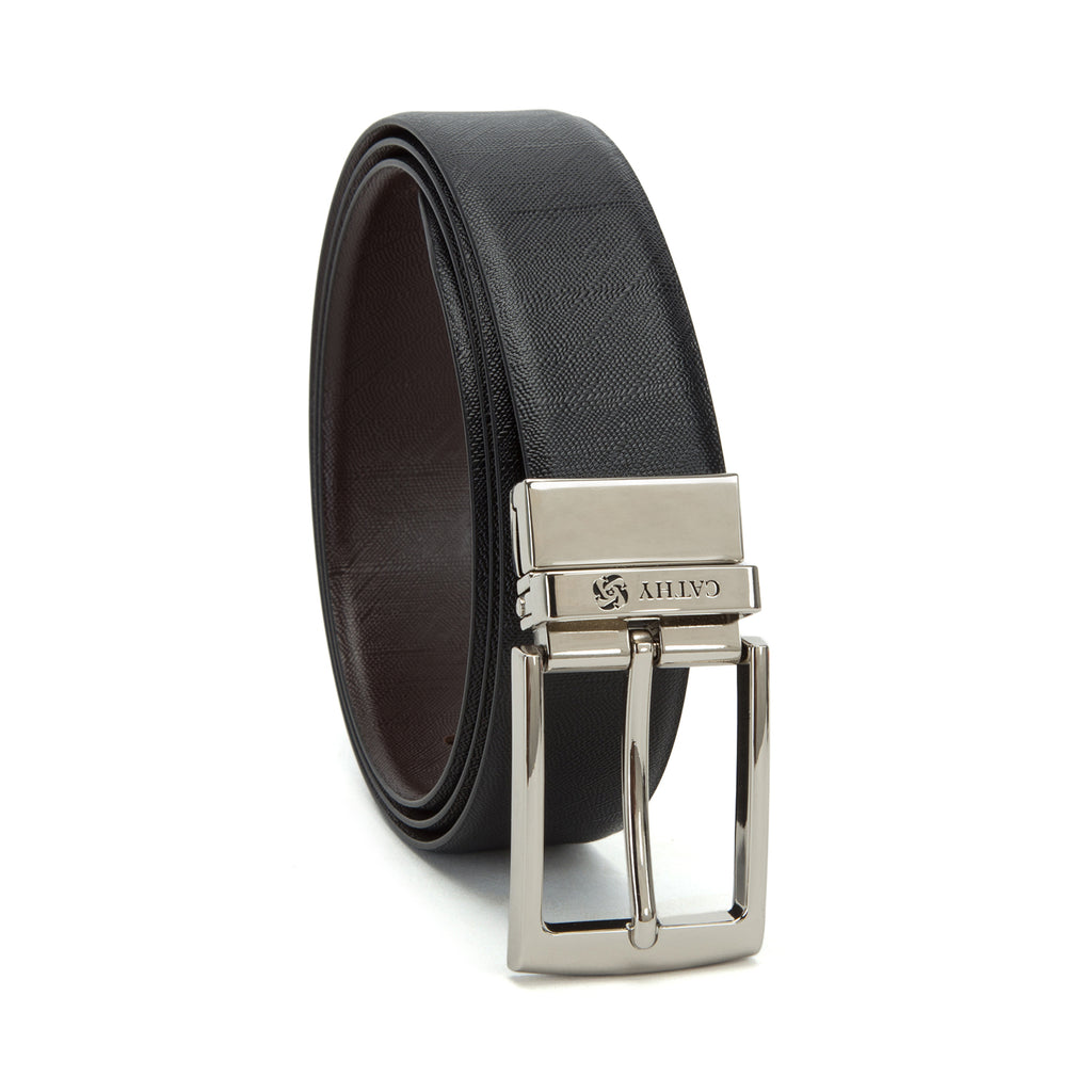 Black,Brown Cathy London Cut-to-Size Reversible Genuine Leather Belt
