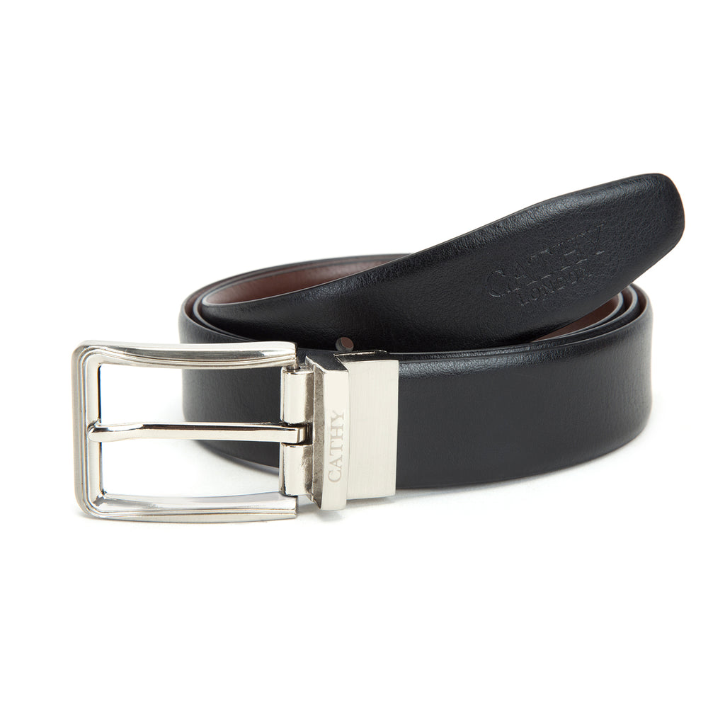 Cathy London Cut-to-Size Reversible Genuine Leather Belt Black,Brown