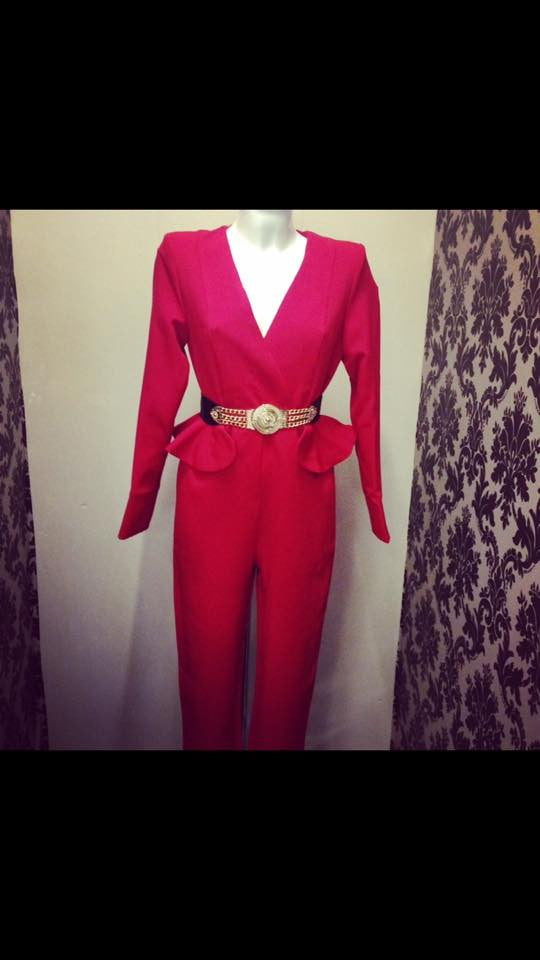 Plunge red jumpsuit