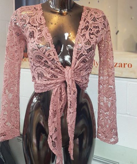 Lace blush pink shrug