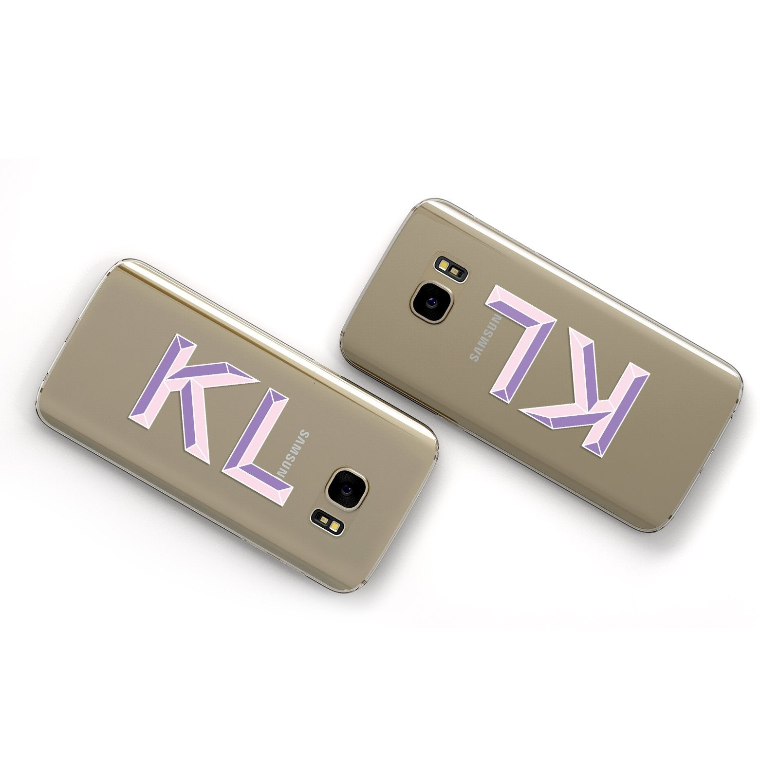 Personalised 3D Initials Monogram Clear Custom Samsung Galaxy Case Flat Overview