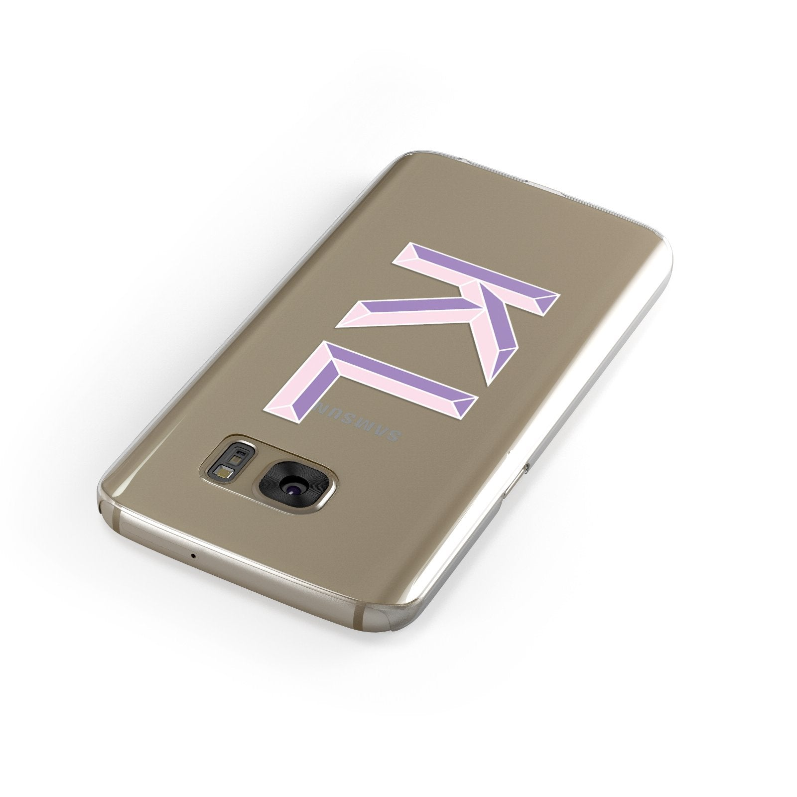 Personalised 3D Initials Monogram Clear Custom Samsung Galaxy Case Front Close Up