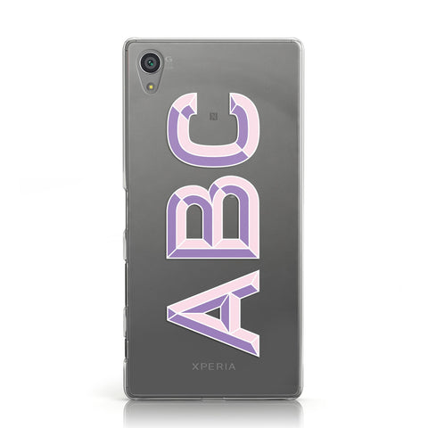 Personalised 3D Initials Monogram Clear Custom Sony Xperia Case