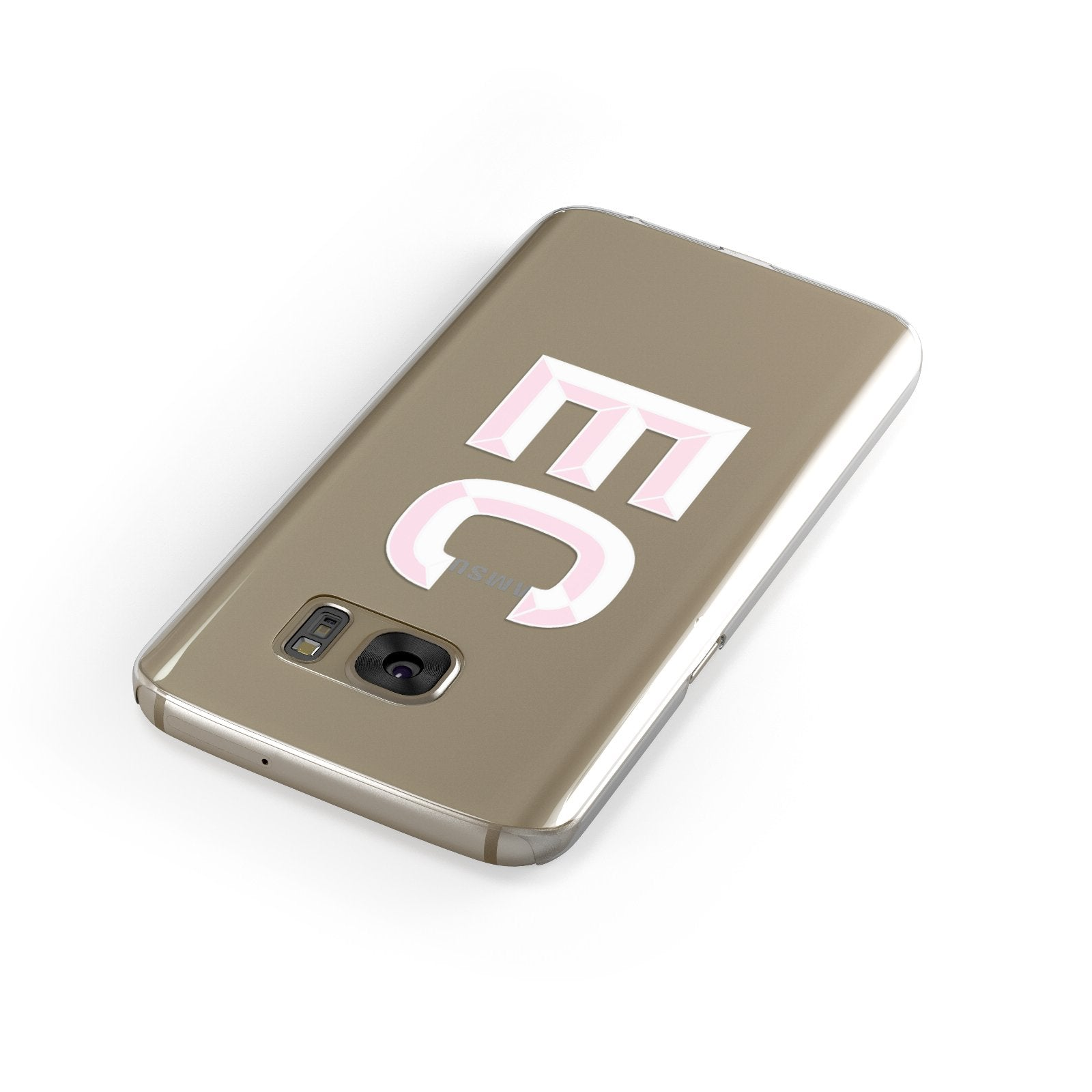Personalised 3D Side Initials Clear Custom Samsung Galaxy Case Front Close Up