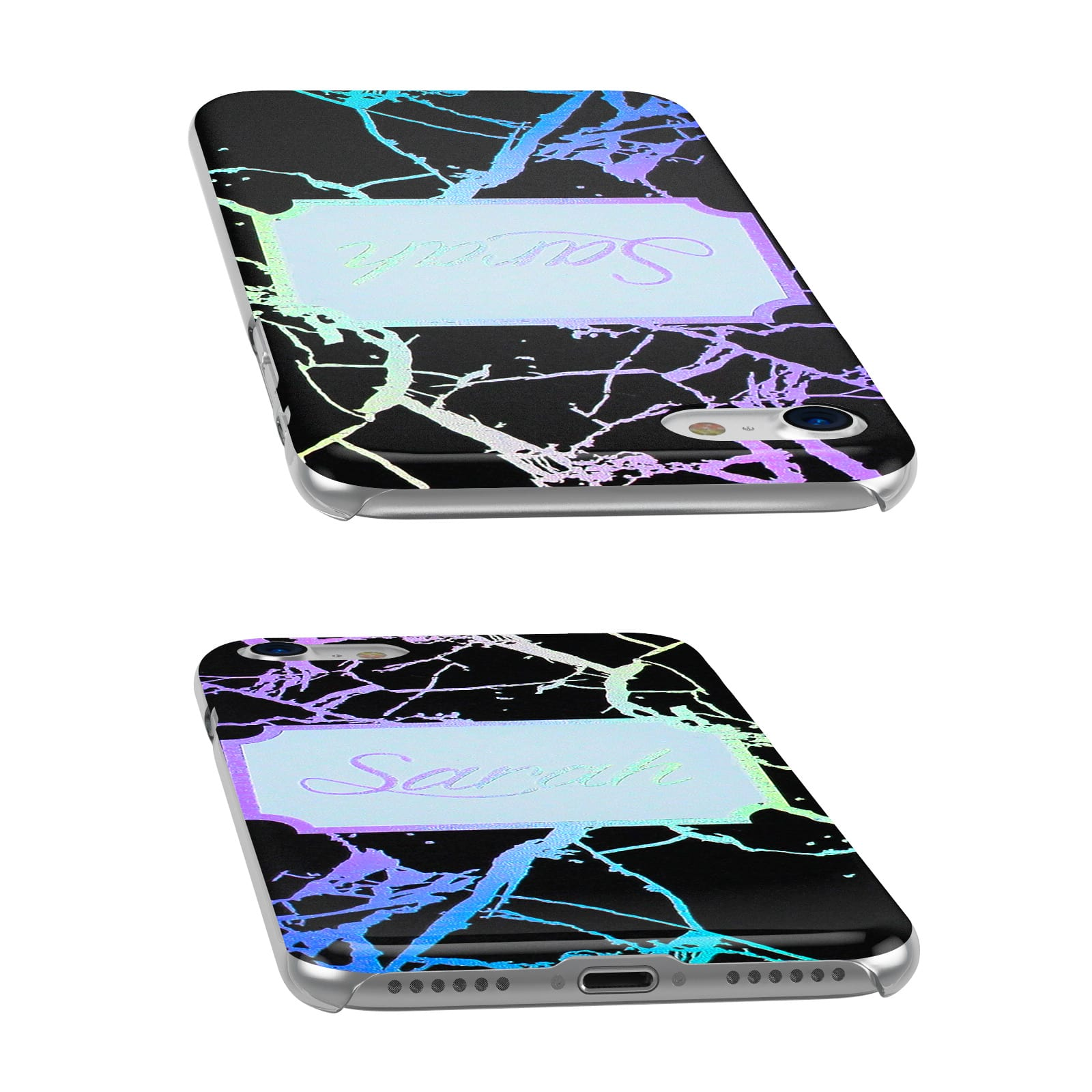 Holographic Marble Black Personalised Apple iPhone Case Ports cutout