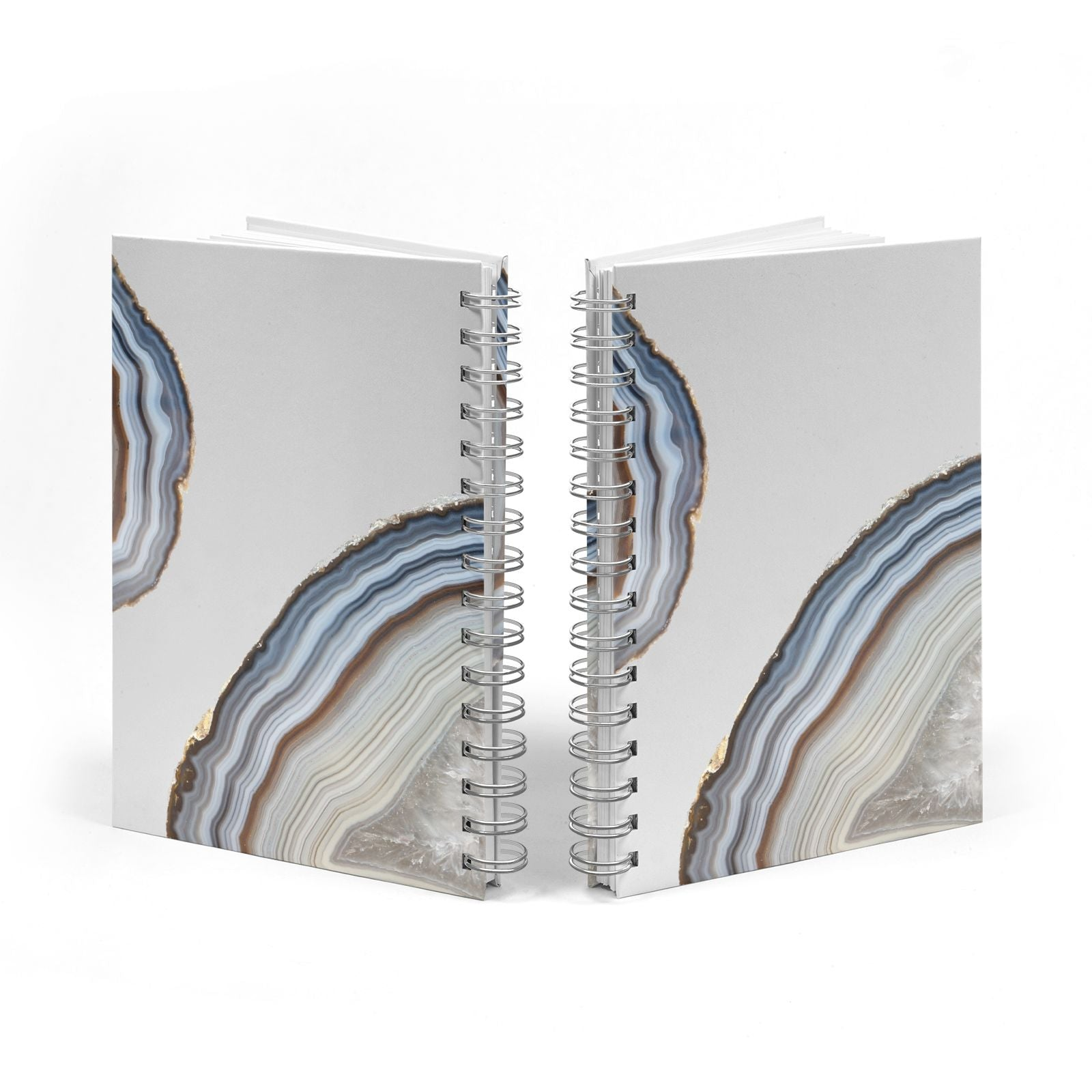 Agate Blue Grey Notebook with Silver Coil Spine View