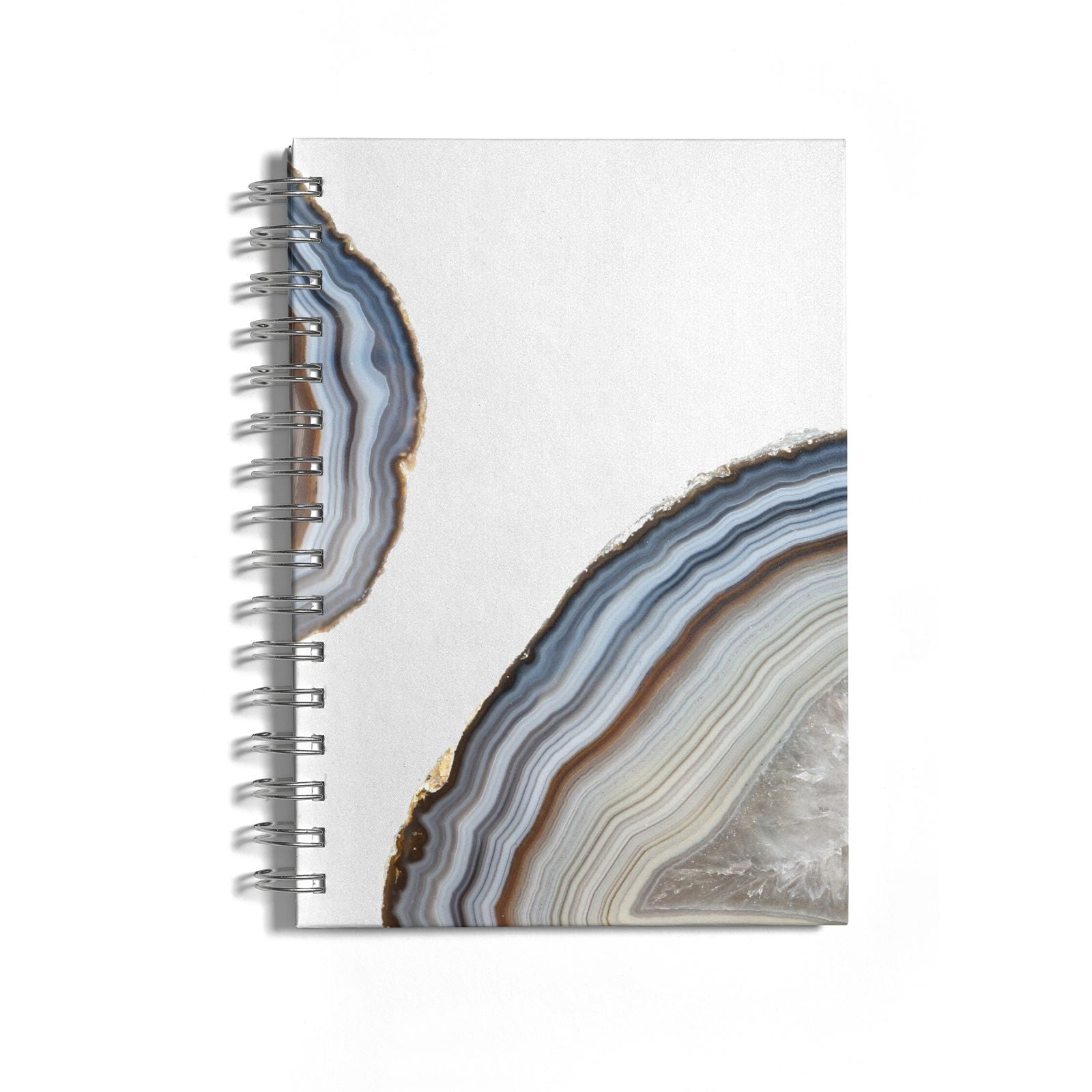 Agate Blue Grey Notebook with Silver Coil