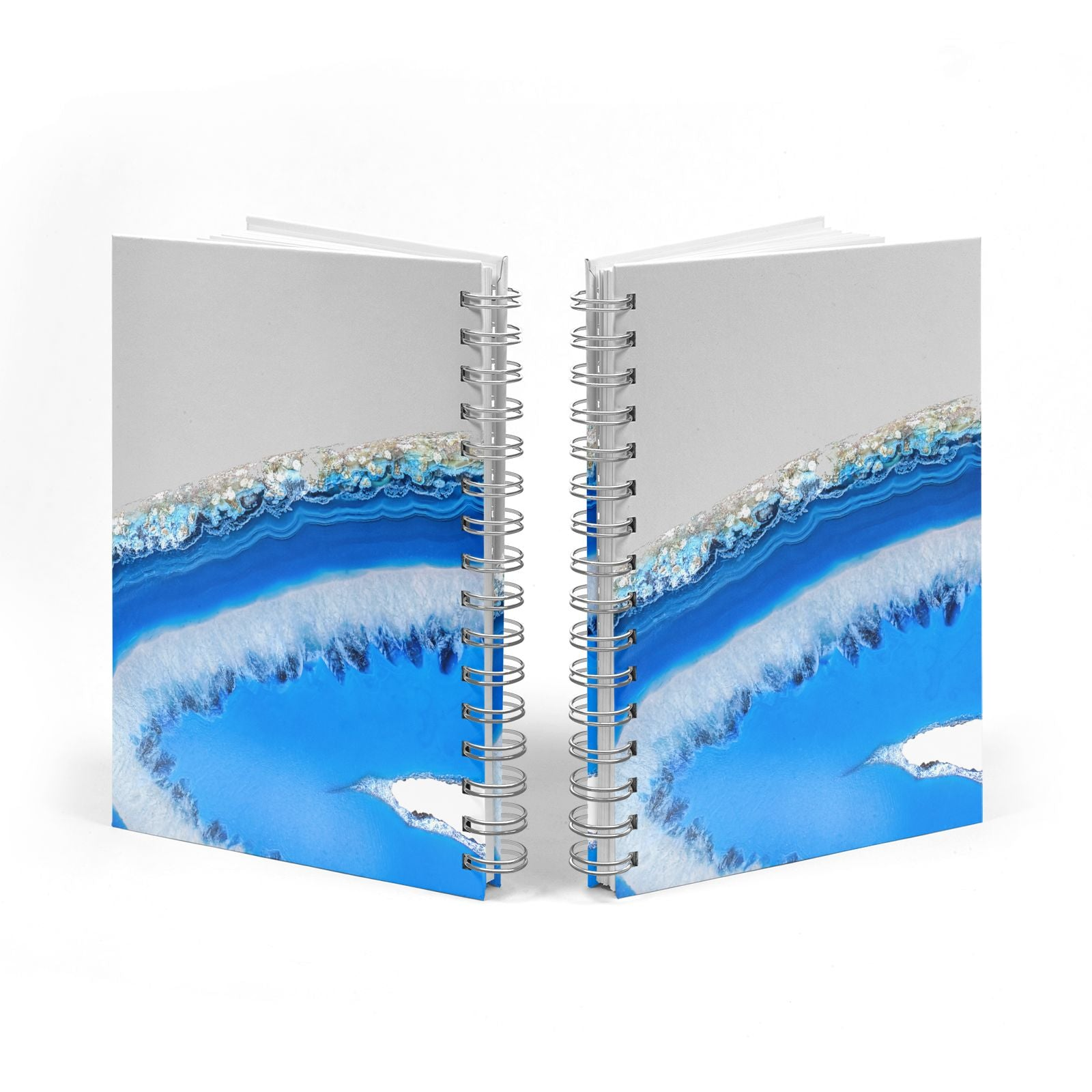 Agate Blue Notebook with Silver Coil Spine View