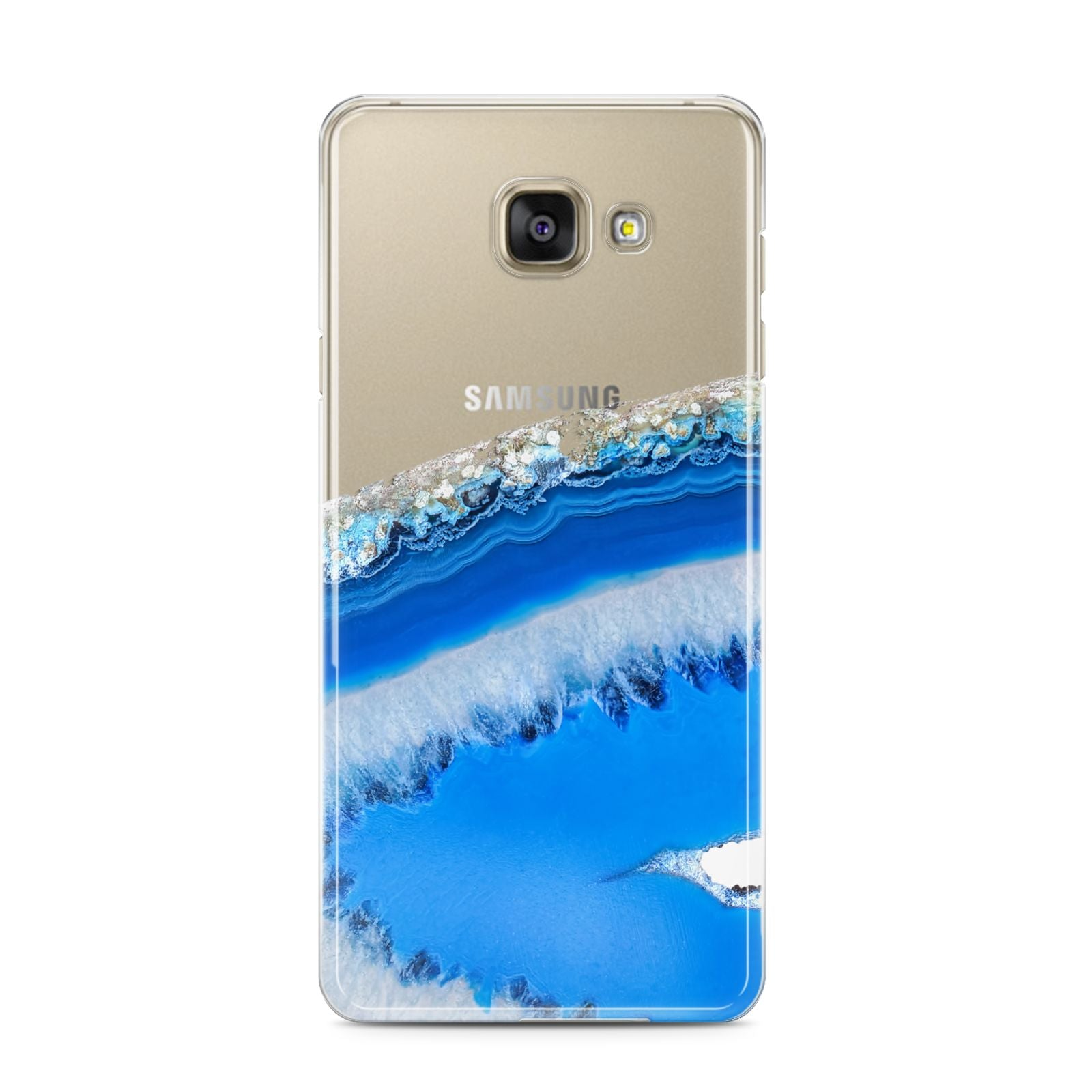 Agate Blue Samsung Galaxy A3 2016 Case on gold phone