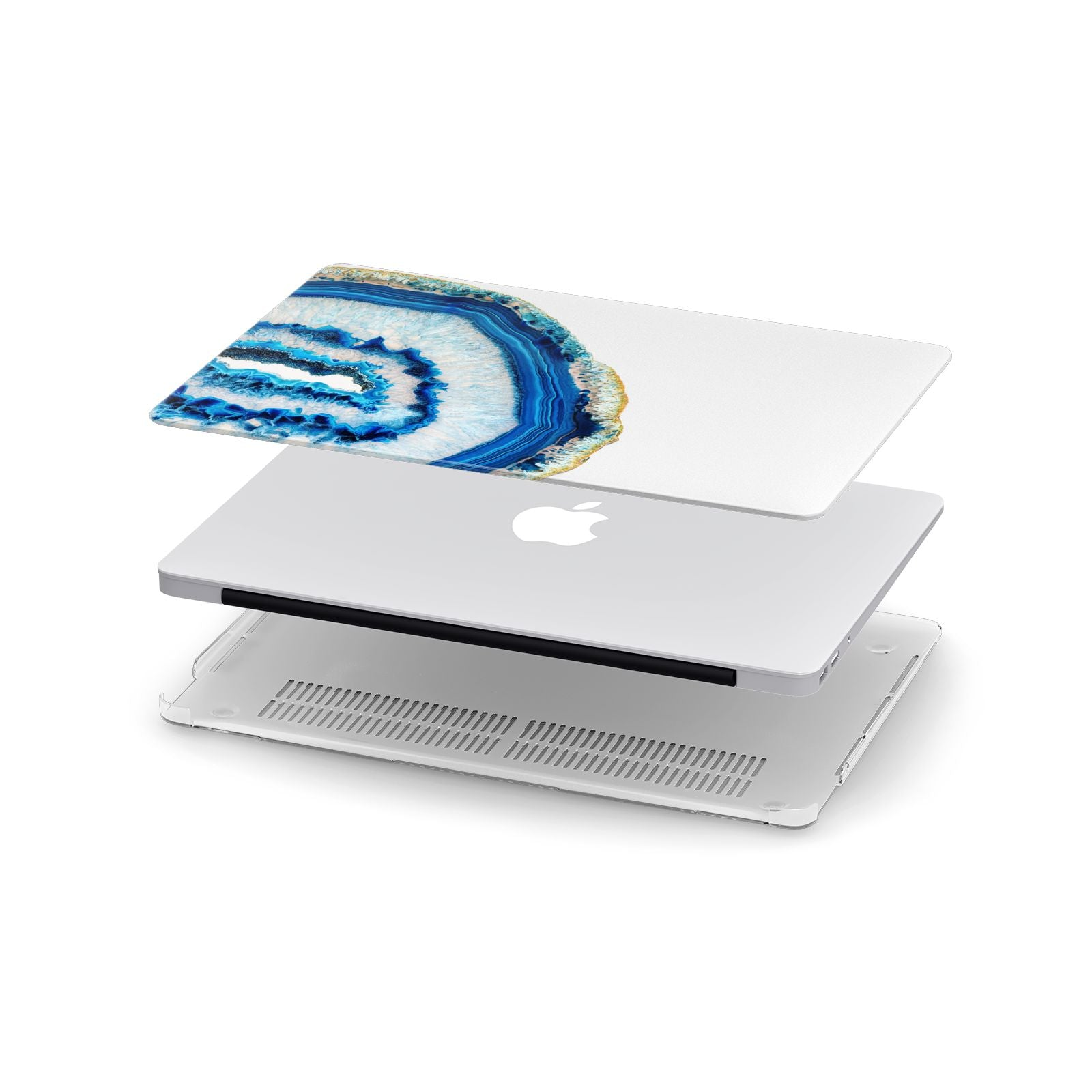 Agate Dark Blue and Turquoise Apple MacBook Case in Detail
