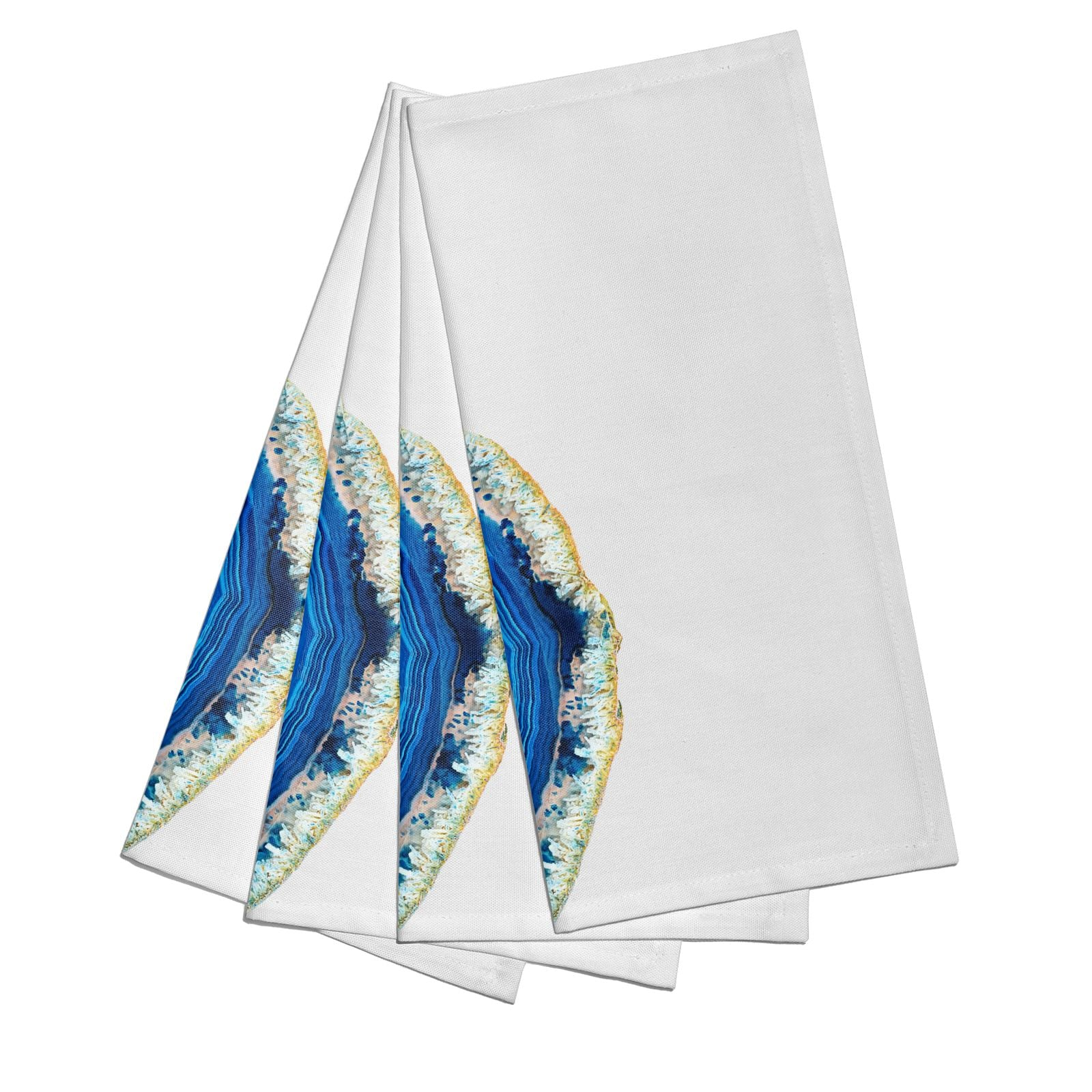 Agate Dark Blue and Turquoise Cotton Napkins Set of 4