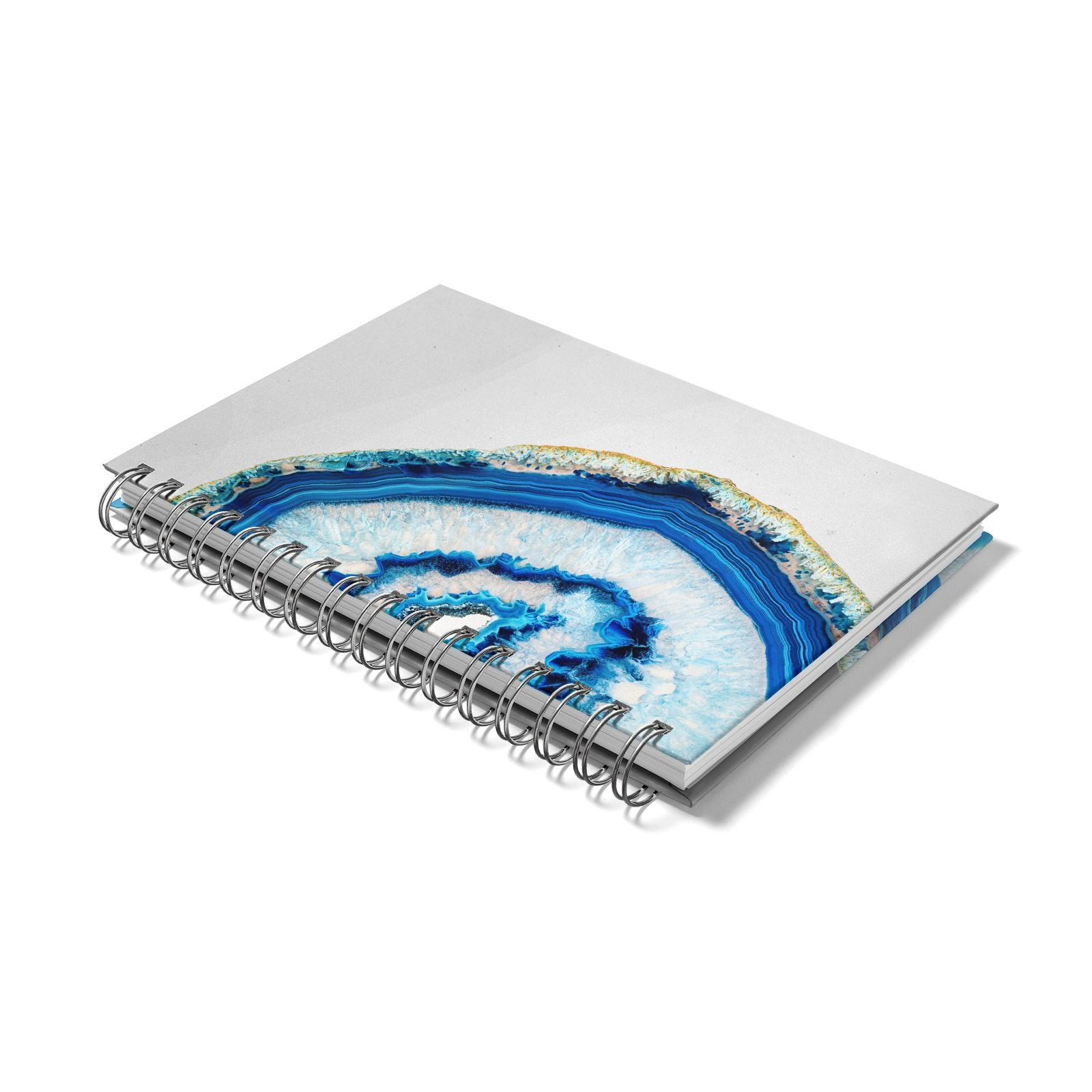 Agate Dark Blue and Turquoise Notebook with Silver Coil Laid Flat
